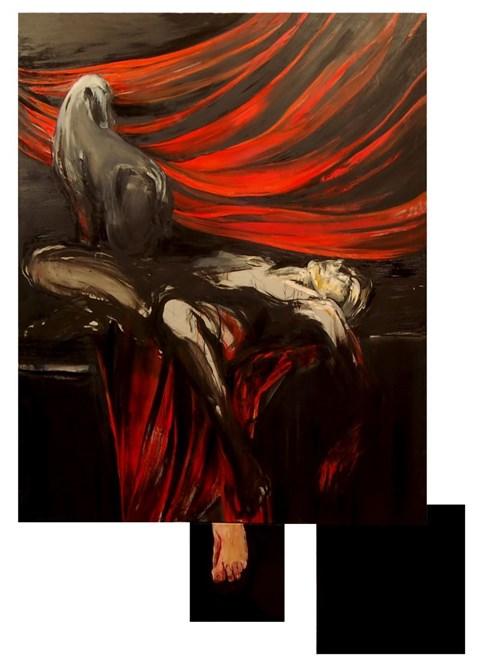 Obraz do salonu artysty Magdalena Siejko pod tytułem Kobieta z psem