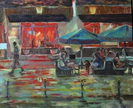 Living room painting by Dorota Zych-Charaziak titled Saturday night