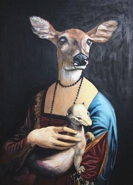 Obraz do salonu artysty Lech Bator pod tytułem Dama z sarną