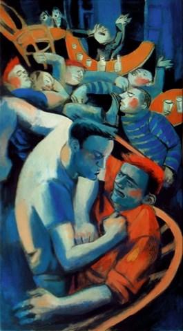 Obraz do salonu artysty Juliusz Lewandowski pod tytułem Bójka w barze