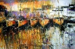 Obraz do salonu artysty Dariusz Grajek pod tytułem Łódki