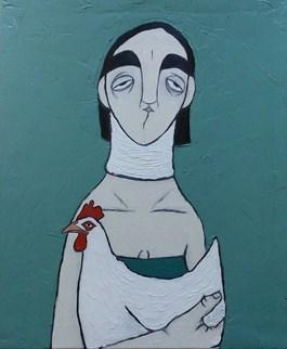 Obraz do salonu artysty Paulina Korbaczyńska pod tytułem Kobieta ze zwichniętą szyją od ratowania kury