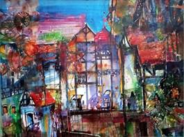 Obraz do salonu artysty Krzysztof Ludwin pod tytułem Książ z cyklu Bajki o miastach