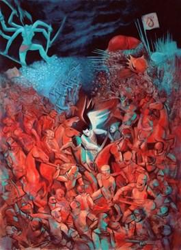 Obraz do salonu artysty Juliusz Lewandowski pod tytułem Wojna piekła z niebem