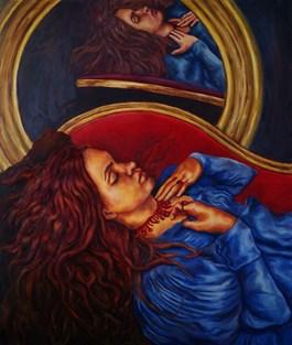Obraz do salonu artysty Anna Mamica pod tytułem Po drugiej stronie lustra