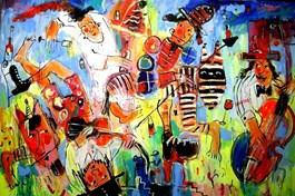 Obraz do salonu artysty Dariusz Grajek pod tytułem Don Kichot i królewna