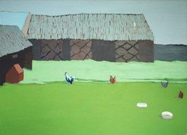 Obraz do salonu artysty Magdalena  Jędrzejczyk pod tytułem Zielone podwórko