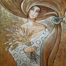 Obraz do salonu artysty Joanna Misztal pod tytułem Złota melancholia o zapachu zboża