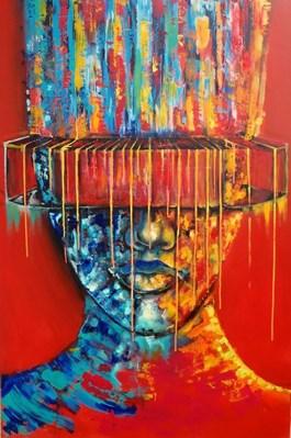 Obraz do salonu artysty Łukasz Jankiewicz pod tytułem W poszukiwaniu koloru IV