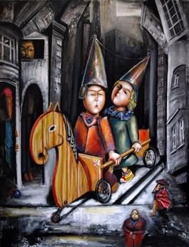 Obraz do salonu artysty Maciej Cieśla pod tytułem Karoca samoróbka