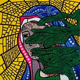 Obraz do salonu artysty Łukasz Leskier pod tytułem Pół bozi zza krzaka