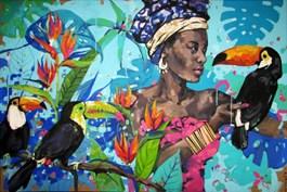 Obraz do salonu artysty Kamila Jarecka pod tytułem Dama z tukanem