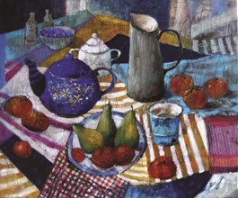 Obraz do salonu artysty Inez White pod tytułem Wpadła gruszka do fartuszka