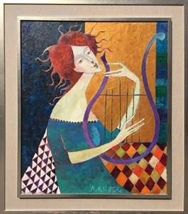 Obraz do salonu artysty Jan Bonawentura Ostrowski pod tytułem Harfistka