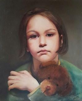 Obraz do salonu artysty Patrycja Kruszynska-Mikulska pod tytułem Dziewczynka z misiem