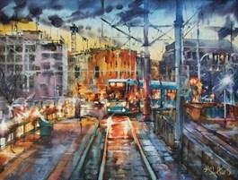 Obraz do salonu artysty Paweł Gładkow pod tytułem Evening tram
