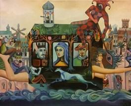Obraz do salonu artysty Piotr Urbanek pod tytułem Dom kart