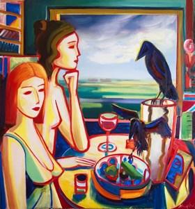 Dwie dziewczyny przy oknie, martwa natura i dwa kruki