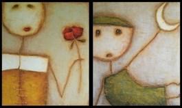 Obraz do salonu artysty Wojciech Odsterczyl pod tytułem Jej różyczka, Pomocnik (dyptyk)