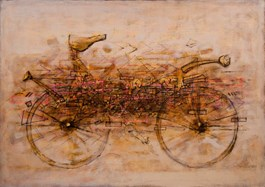 Living room painting by Grzegorz Klimek titled Running stagecoach