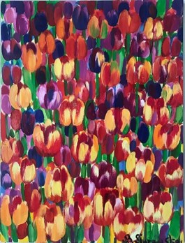 Living room painting by Beata Murawska titled Tulips