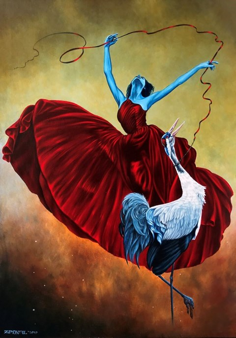 Living room painting by Mariusz Zdybał titled Tethered bird