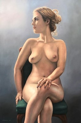 Living room painting by Wojciech Piekarski titled Nude