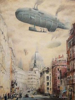 Living room painting by Arkadiusz Mężyński titled Fleet Street London