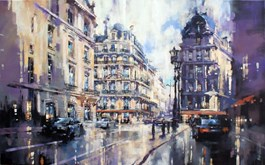 Living room painting by Piotr Zawadzki titled Metropolis. Paris Dream II