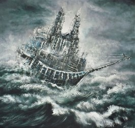 Living room painting by Andrzej Fronczak titled Flying Dutchman-Cathedral