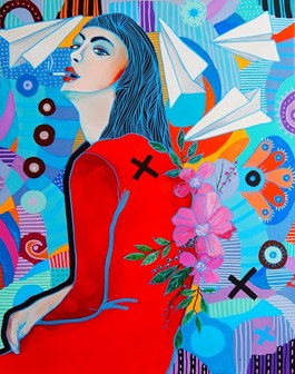 Living room painting by Marcin Painta titled She and the Red Dress