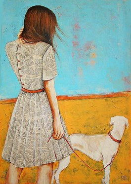 Living room painting by Renata Magda titled Walk