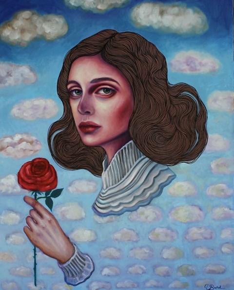 Obraz do salonu artysty Viola Bąbol pod tytułem Muza Emilia w obłokach