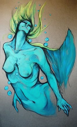 Living room painting by Aleksandra Wiszniewska titled Siren