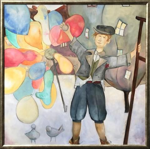 Obraz do salonu artysty Anna Przepióra pod tytułem Sprzedawca balonów