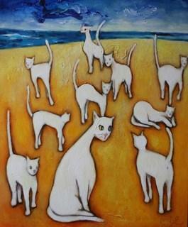 Obraz do salonu artysty Miro Biały pod tytułem Koty na plaży