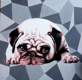Obraz do salonu artysty Zuzanna Jankowska pod tytułem Mopsik z netu