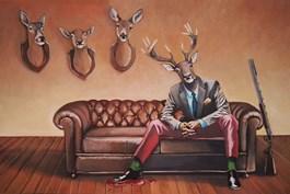 Obraz do salonu artysty Lech Bator pod tytułem Ze strzelbą