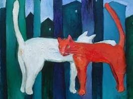 Obraz do salonu artysty Miro Biały pod tytułem Lewitujące koty