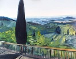 Obraz do salonu artysty Jacek Malinowski pod tytułem Gelato sulla terrazza a San Gimignano