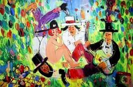 Obraz do salonu artysty Dariusz Grajek pod tytułem Śniadanie na trawie