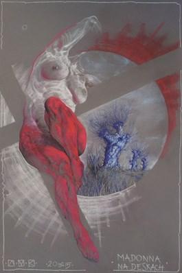 Obraz do salonu artysty Aleksander Marek Korman pod tytułem Madonna na deskach