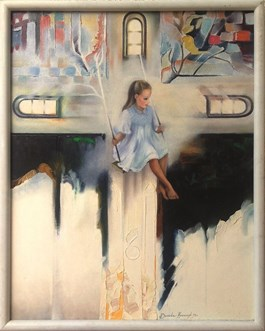 Obraz do salonu artysty Alina Dorada-Krawczyk pod tytułem Dziewczynka na huśtawce