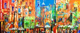 Living room painting by Krzysztof Ludwin titled Urban composition of Krakow