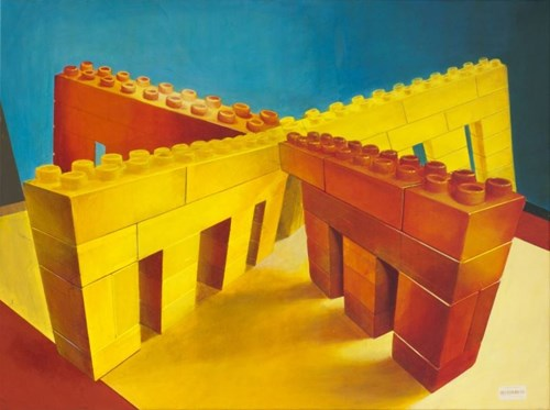 Living room painting by Zbigniew Gorlak titled Porta di Croce