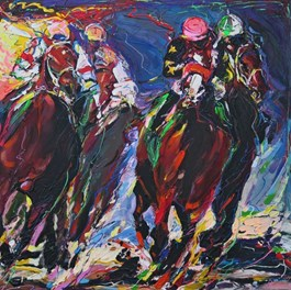 Living room painting by Paweł Polisiak titled Derby in Ascot