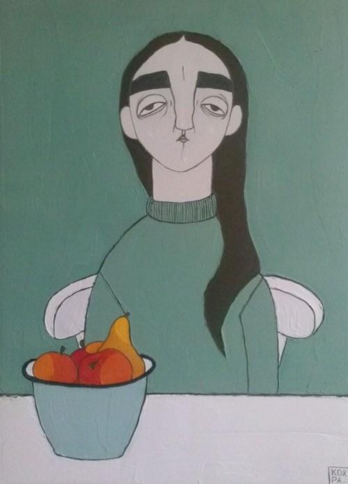 Living room painting by Paulina Korbaczyńska titled It swallows the water so loudly