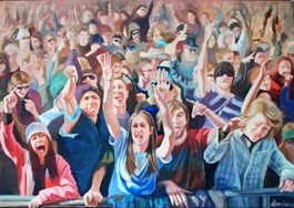 Living room painting by Katarzyna Orońska titled Joy