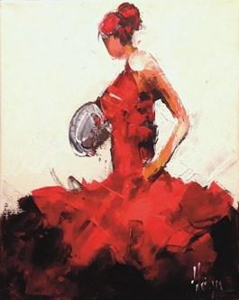 Living room painting by Dominique Kleiner titled Danseuse de flamenco