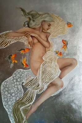 Living room painting by Patrycja Kruszynska-Mikulska titled dreaming